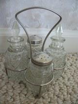 Vintage Cut-Glass Condiment/Cruet Set (#0541) - $19.99
