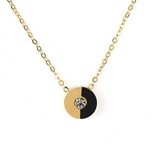 UE- Gold Tone & Jet Black Designer Pendant Necklace With Swarovski Style Crystal image 2
