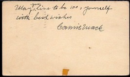 CONNIE MACK Autograph. Signed on a postmarked GPC, Nov 6,1950. Philadelp... - $375.21