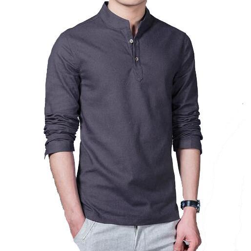 Primary image for Men 's Long Sleeved Shirt Men' s Cotton and Linen Shirt