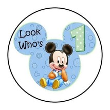 30 Baby Mickey Mouse 1st birthday party stickers labels favors first rou... - $4.99