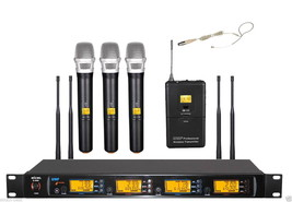 NEW UHF Wireless Microphone System 3 Handheld + 1 Beige ear Headset MIC - $314.82
