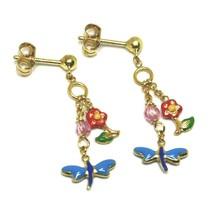 Boucles D'Oreilles Pendantes or Jaune , Fille, Fleurs, Papillons, Vernis Et image 1
