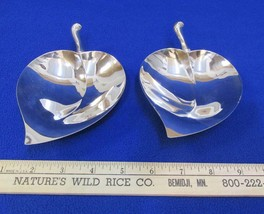2 Antique Vintage FB Rogers Silverplate Footed Leaf Serving Nut Bowl Candy Dish - $39.59