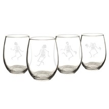Cathy's Concepts Dancing Skeletons Stemless Wine Glasses, Set of 4, Clear - $936,24 MXN