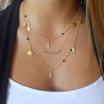 New Gold Plated Chain Beads Leaves Pendant Multilayer Necklace Fashion Jewelry  - $12.86