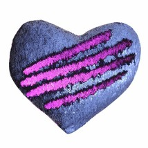 Mermaid Throw Pillow, Two-color Reversible Sequins Mermaid Heart-Shaped ... - £9.67 GBP
