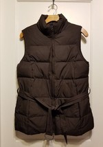 GAP Women's Belted Puffer Vest, Lined, Brown, Size M, Pre-owned - $36.44