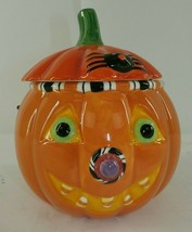 Hallmark Halloween Ceramic Pumpkin Treat Dish Bucket Handle Candy Face - $19.79
