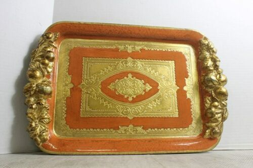 "Italian Florentine Handmade Wooden Tray Wood Orange & Gold 17"" x 11"