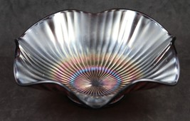 Fenton, Smooth Rays, Carnival Glass, 8.5 inch, Ruffled Edge Bowl with Am... - $16.00
