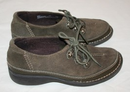 CLARKS ARTISAN Brown / Green 5 1/2 Shoes Lace Up Suede Leather Womens 5.... - $12.59