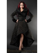 Charcoal Grey Evil Queen Brocade Goth Victorian Long Corset-Back Steampu... - $169.03