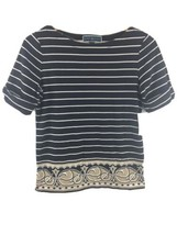 Karen Scott Boatneck Top Petite Small PS Elbow Length Black White NWT LL28 - $10.19