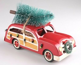 "Wondershop 8"" Christmas Tree Decoration Red Metal Station Wagon Woody Car NEW image 1"