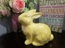 Easter Pastel Yellow Ceramic Bunny Rabbit Statue Figurine Tabletop Home ... - $26.99