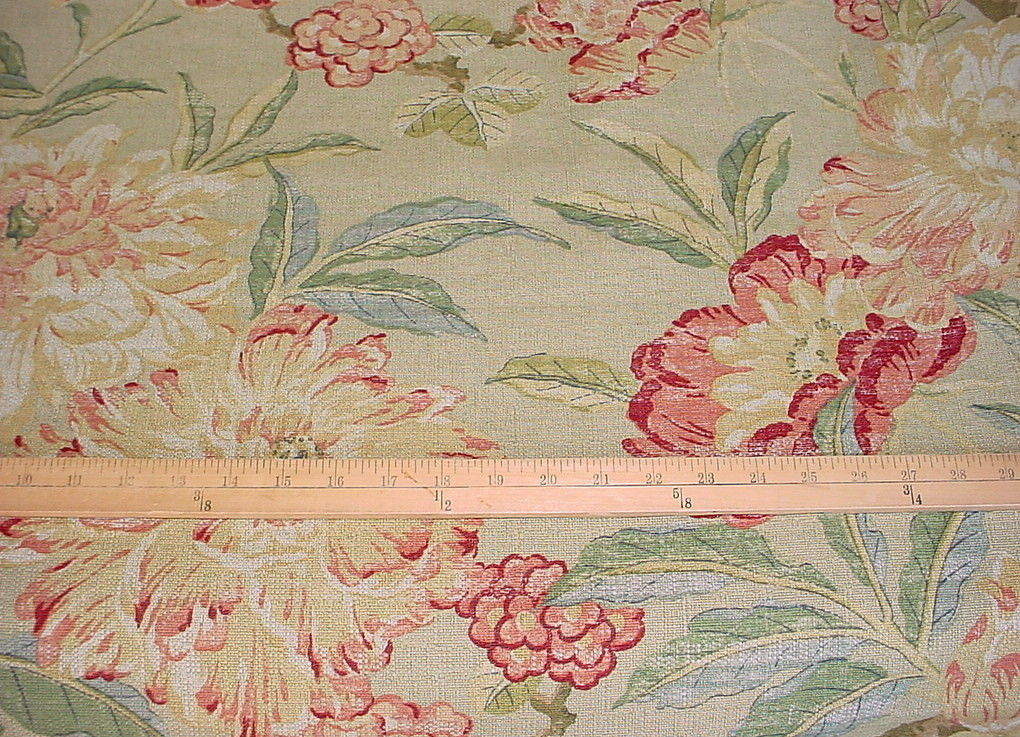 2 PCS BRAEMORE BEAUTIFUL PINK / RED / MINT FLORAL DRAPERY UPHOLSTERY FABRIC