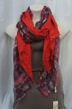 Collection Eighteen Scarf Sz One Size Fire Island Red Multi Fringe Casua... - $24.39 CAD