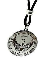 Archange Pendentif 12 Anges Cœur Ailé Ankh Acier Talisman Perle Cordon C... - $23.78