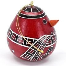 Handcrafted Carved Gourd Red Snowman Winter Ornament Made in Peru image 4