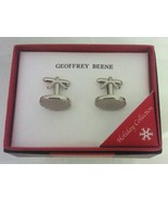 Mens CUFFLINKS Geoffrey Beene CHRISTMAS COLLECTION Oval Silver Tone 6915-40 - $12.73