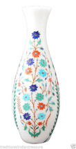 """12"""" White Marble Flower Vase Turquoise Marquetry Inlay Collectible Gifts Decor - $264.67"""