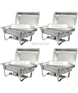 4 PACK CATERING CHAFERS STAINLESS STEEL $75.00 LESS THAN $20 EACH! SHIPP... - $79.25