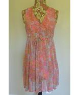 H&M Dress XS Pleated Paisley V Neck Empire Waist Sleeveless Pink - $9.95