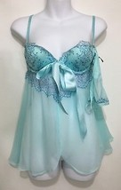 Victoria's Secret 32B Aqua 2 Pc Underwire Padded Sexy Shortie Nightie Th... - $35.77