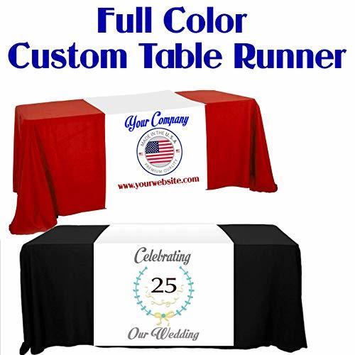 "Custom Table Runner 36"" Width Add Your Business Logo or Any Text, Free Basic Cus"