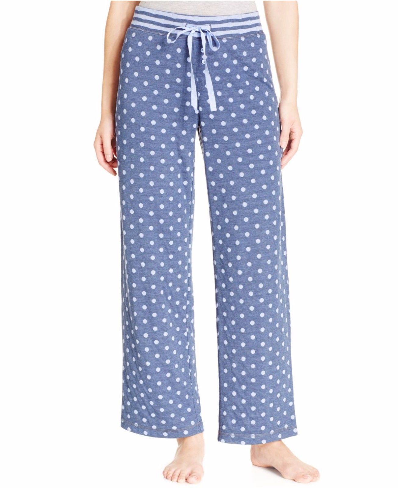Primary image for Alfani Navy Polka Dots Print Knit Pajama Bottoms, Medium
