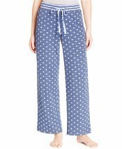Alfani Navy Polka Dots Print Knit Pajama Bottoms, Medium - $17.81