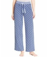 Alfani Navy Polka Dots Print Knit Pajama Bottoms, Medium - £13.04 GBP