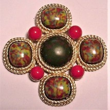 Sarah Coventry Maltese Cross Brooch Large Marbelized Stones Book Piece - $85.00