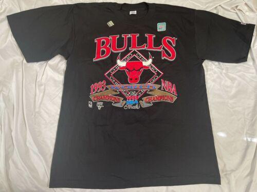 Vintage Black New 1993 Chicago Bulls NBA Finals T Shirt Men XL World Champions