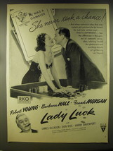 1946 Lady  Luck Movie Advertisement - Robert Young and Barbara Hale - $14.99