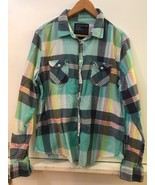 AMERICAN EAGLE OUTFITTERS Women's Green White Blue Plaid Button Down Shi... - $14.95