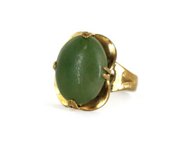 Antique Art Deco Yellow Gold Filled Nephrite Jade Cabochon Ring Size 5.75 - $89.99