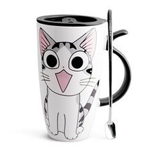 Ceramic Mugs Coffee Lid Spoon Cat Style Cartoon Gift Large Home Kitchen ... - £15.06 GBP