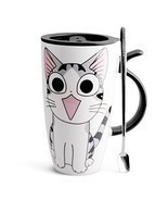 Ceramic Mugs Coffee Lid Spoon Cat Style Cartoon Gift Large Home Kitchen ... - £14.84 GBP