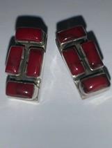 Sterling Silver Vintage 925 Red Stone Earrings (2.3g) - 801320 - $10.59