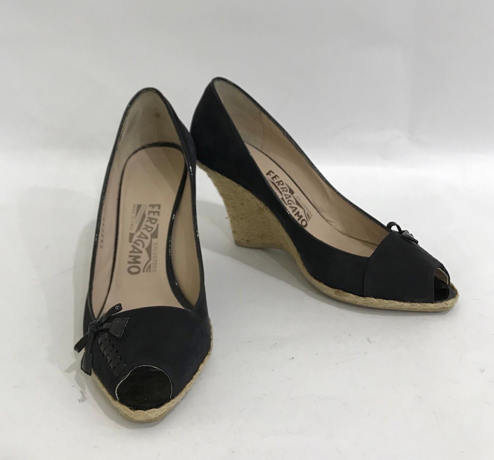 ea7fa8d0632 S l1600. S l1600. Salvatore Ferragamo Black Suede High Wedge Heel Shoes  Open Toe Pumps Size US 7