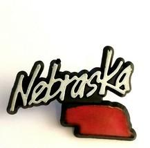 Vintage Plastic Nebraska Red State Map NE Souvenir Collectible Pin Arjay... - $11.14