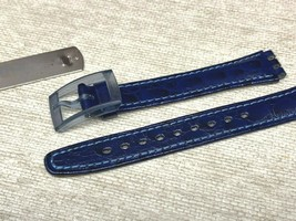 SWATCH ORIGINAL SWISS WATCH BAND GENUIN LEATHER NAVY BLUE 12MM - $12.00