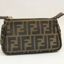 FENDI Zucca Canvas Pouch Black Brown Auth ar1127 - $99.00