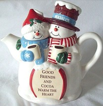 Teapot Snow Couple Hershey's T-Pot Good Friends and Cocoa Warm the Heart - $8.92