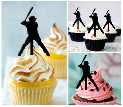 Wedding,Birthday Cupcake topper,silhouette baseball home run Package : 1... - $10.00
