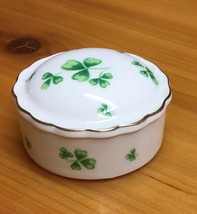 Lefton China Irish Trinket Box 1992 Signed Number 639 Round Shamrocks - $24.13