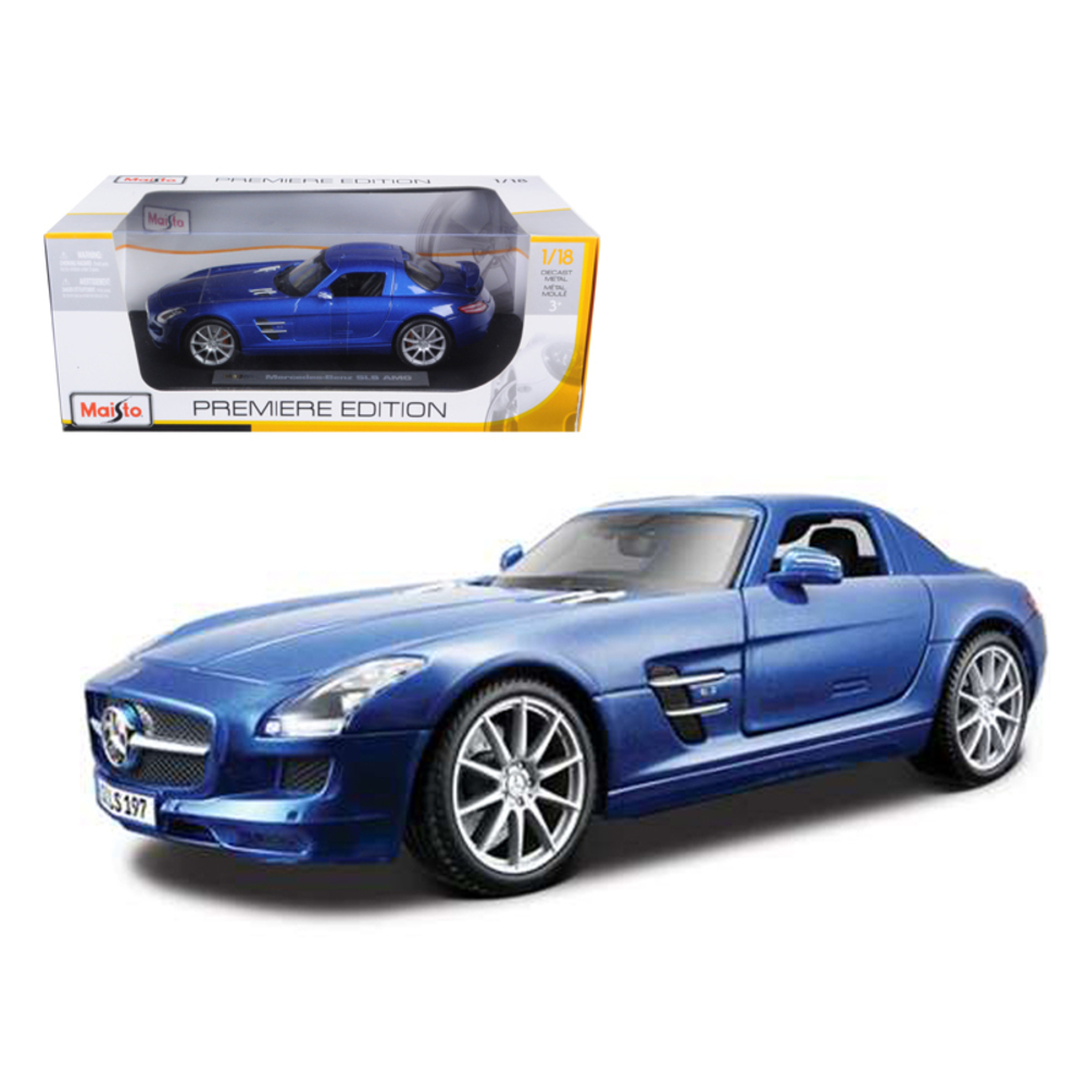 Mercedes SLS AMG Gullwing Blue 1/18 Diecast Model Car by Maisto 36196bl