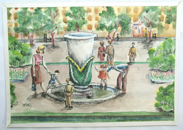 Found art Painted drawing Rubtsovsk fountain Signed 15-year-old girl - $65.45